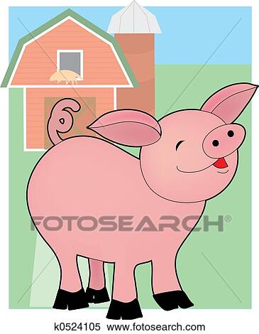 Stock Illustration Of Baby Pig On A Farm K0524105