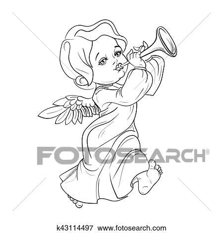 Clip Art - bebé, ángel, hacer la música, trompeta que juega ...