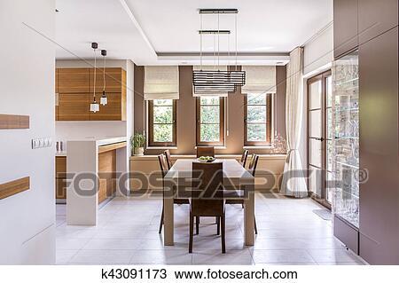 Cucina, e, sala da pranzo, disegno Archivio Immagini
