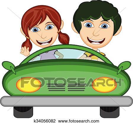 clipart enfants conduire voiture dessin anim k34056082 recherchez des clip arts des. Black Bedroom Furniture Sets. Home Design Ideas