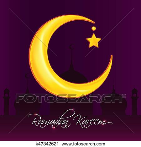 Clipart of greeting card template for muslim holiday with flat greeting card template for muslim holiday with flat islamic mosque and crescent moon traditional ramadan kareem month celebration m4hsunfo