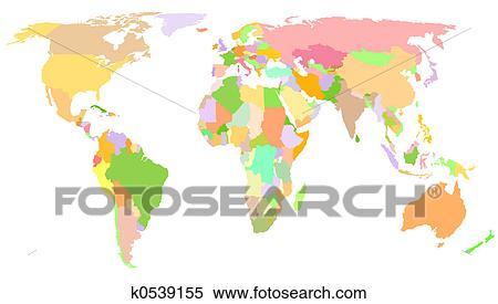 世界地図 イラスト K0539155 Fotosearch