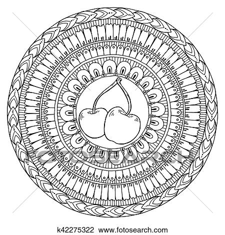 Black and white mandala theme with cherry doodle  Healthy food background   Autumn pattern with cherry in tribal pattern circle  Clipart