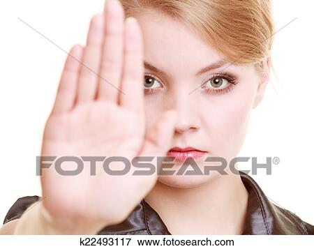 Businesswoman Showing Stop Hand Sign Gesture Stock Photo