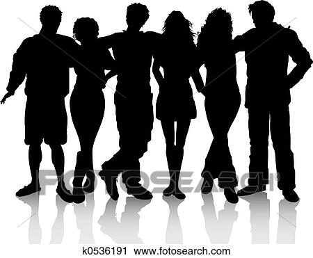 clipart of group of friends k0536191 search clip art illustration rh fotosearch com group of happy friends clipart group of girlfriends clipart