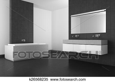 Badkamer Tegels Grijs.Hippe Badkamer Met Grijs Tegels En Donker Vloer Stock Illustraties