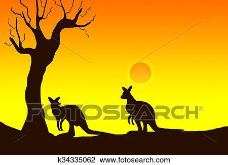 clip art of kangaroo silhouette k34335062 search clipart