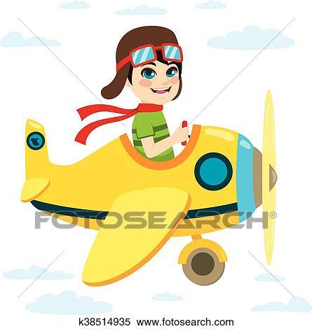 Kid Flying Plane Clipart K38514935 Fotosearch