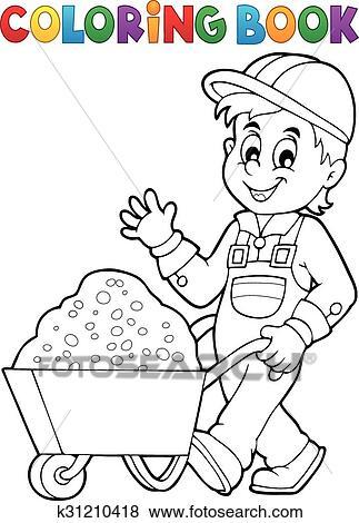 Clip Art - libro colorear, trabajador construcción, 1 k31210418 ...
