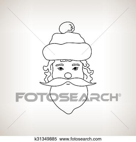 Clipart Pere Noel Faire Face A Lumiere Fond K31349885
