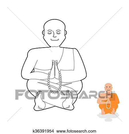 Tibetan monk coloring book. Yoga Buddhist Tibet. Novice of monastery in  linear style. Rosary prayer. Meditation and enlightenment Clipart