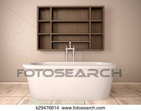 Mensole In Legno Per Bagno.3d Illustrazione Di Moderno Bagno Con Legno Mensole Archivio Illustrazioni