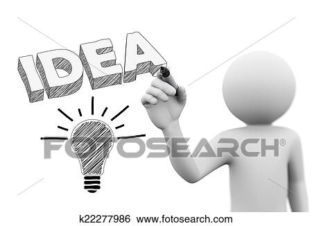 3d Personne Dessin 3d Idee Mot Et Ampoule Banque D Illustrations K22277986 Fotosearch