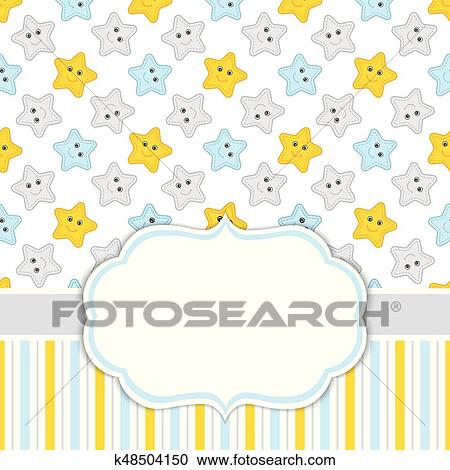Card Template With Stars Background Baby Boy Shower Vector Illustration Clipart K48504150 Fotosearch