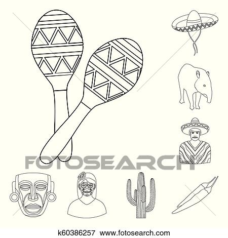 Country Mexico outline icons in set collection for design ...