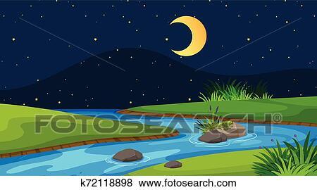 Paisagem Fundo Desenho De Rio A Noite Clipart K72118898