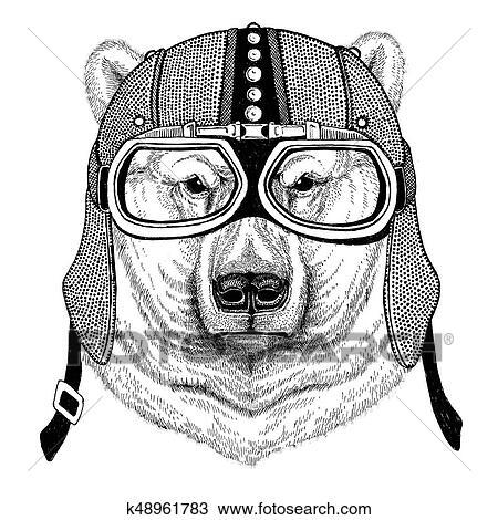 Urso Polar Motocicleta Biker Aviador Mosca Clube Ilustracao