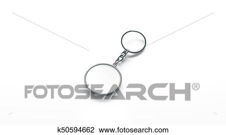 Blank metal round white key chain mock up side view Drawing