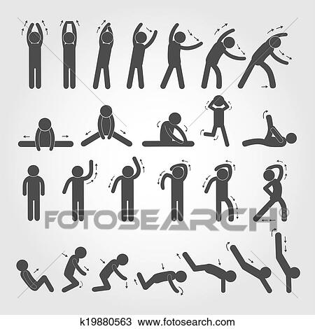 clipart of body exercise stick figure icon k19880563 search clip