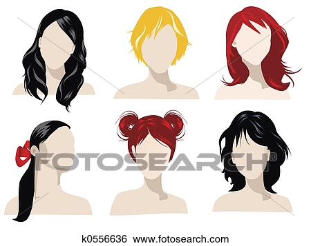 animated hair styles banque d illustrations cheveux styles k0556636 8468 | cheveux styles banque dillustrations k0556636