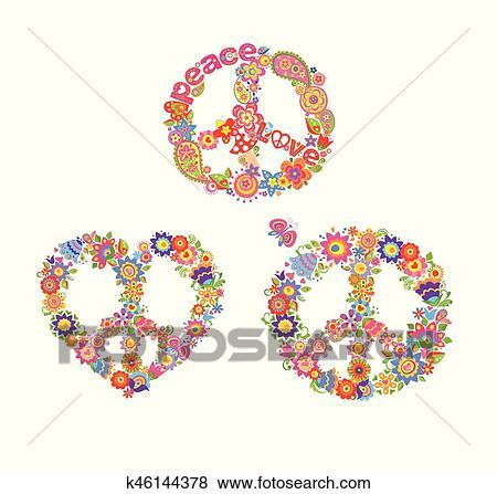 Decorative Hippie Prints With Peace Flower Symbols Clip Art