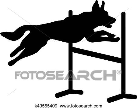 clip art of dog agility jumping over hurdle k43555409 search rh fotosearch com