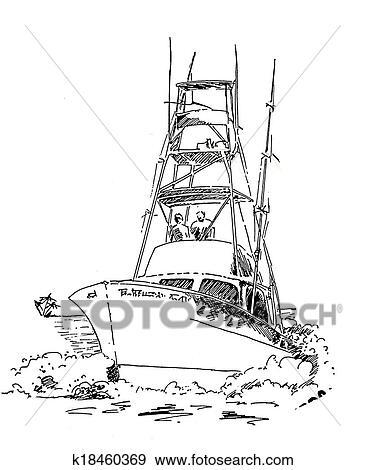 Banque D Illustrations Mer Bateau Peche Croquis K18460369