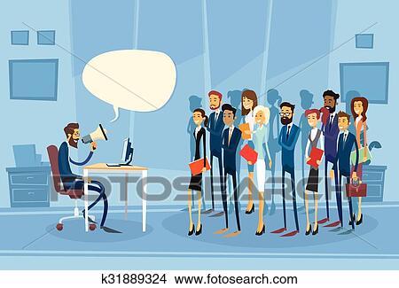 Capo Ufficio Disegno : Clipart uomo affari capo presa megafono altoparlante colleghi