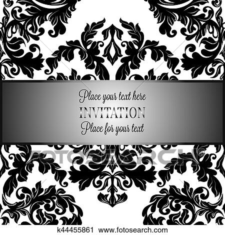 clipart baroque fond antiquit luxe noir blanc vendange cadre victorien banni re. Black Bedroom Furniture Sets. Home Design Ideas