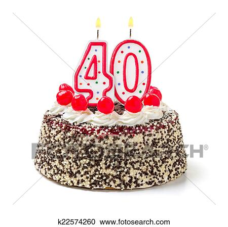 Stock Photography Of Birthday Cake With Burning Candle Number 40