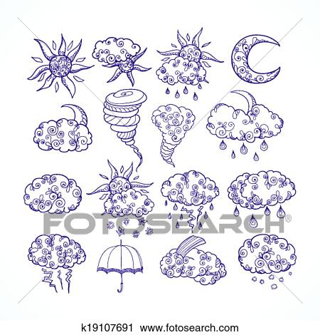 Clipart Of Doodle Weather Forecast Graphic Symbols K19107691