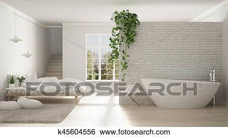 Escandinavo, blanco, minimalista, cuarto de baño, y, dormitorio ...