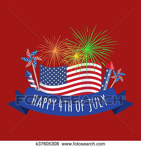 happy 4th of july independence day design usa illustration