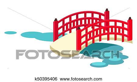 Clip Art Of Japanese Arched Garden Bridge Across Pond Vector