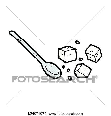 Clipart comique dessin anim sucre gros comme la t te et cuill re k24071074 recherchez - Cuillere dessin ...