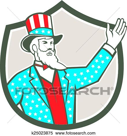 clipart of uncle sam american hand up shield retro k25023875 rh fotosearch com Patriotic Uncle Sam Cartoon Uncle Sam Clip Art