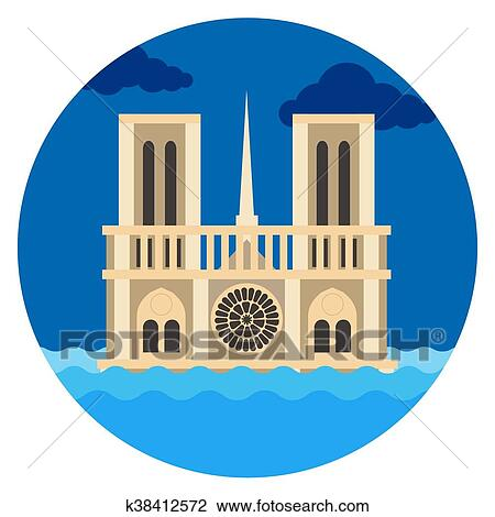 Notre Dame Cathedral Flat Vector Clipart K38412572 Fotosearch