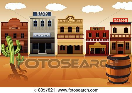 clipart of old western town k18357821 search clip art rh fotosearch com old western town clipart the wild west clipart