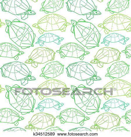 Origami Turtles Drawing Illustration Stock Illustration