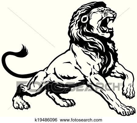 Clip Art Of Roaring Lion Black White K19486096 Search Clipart