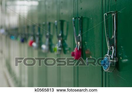 School Lockers Stock Image K0565813 Fotosearch