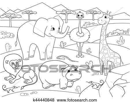 Tiere Von Afrikas Savanne Färbung Vektor Für Erwachsene Clip Art