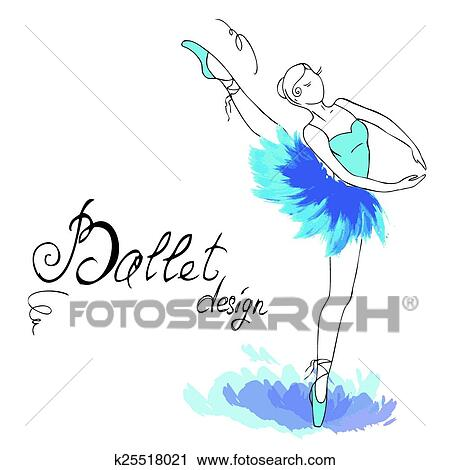 Ballet Dancer Drawing In Watercolor Style Clipart K25518021 Fotosearch