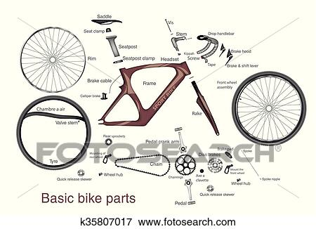 Infographic Of Main Bike Parts With The Names Clip Art K35807017