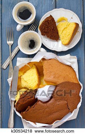 Bilder Portugiesisch Kuchen Pao De Lo Weiss Papier Auf Blau