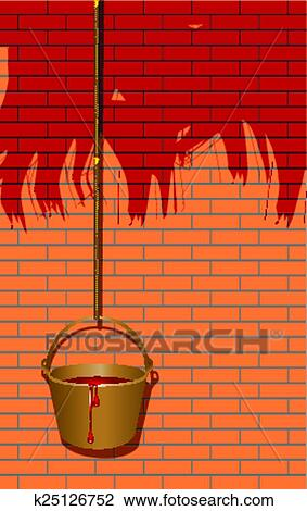Clipart   Streichen Wände, In, Rot
