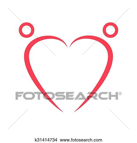 drawings of two happy people formed heart shape k31414734 search