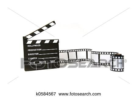 clapboard and film strip on white background stock illustration k0584567 fotosearch fotosearch