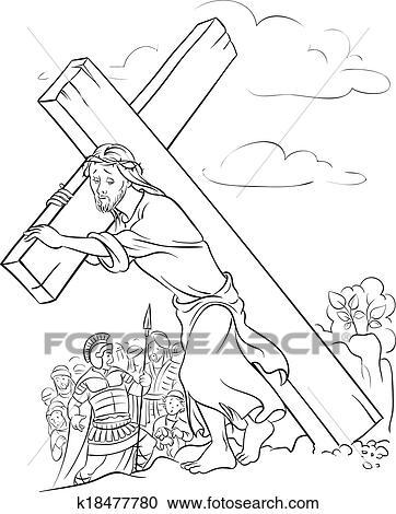 Clipart - färbung, page., jesus, tragen, kreuz k18477780 - Suche ...