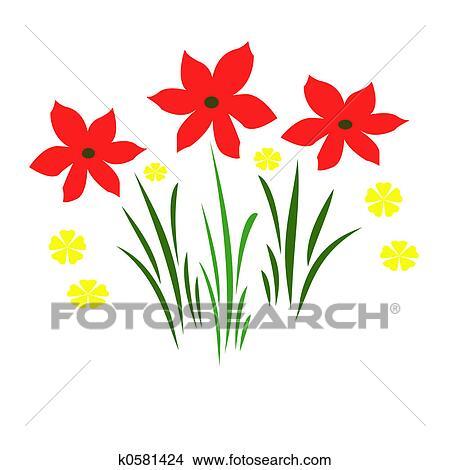 Dibujos Flores Rojas K0581424 Buscar Clip Art Ilustraciones De